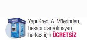 ATM'den Masrafsız Ödeme Yapı Kredi'de