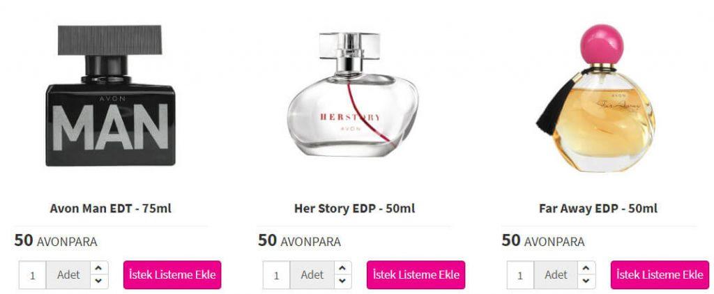 Avon parfüm çeşitleri